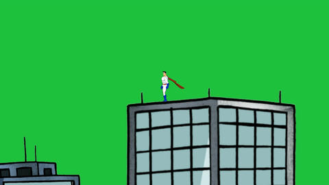 Super hero, Standing on building: Green Screen Version (Loop) Animation