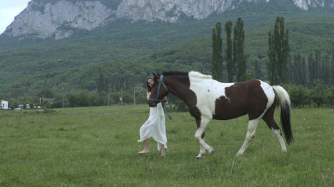 Girl And Her Horse In A Meadow Footage