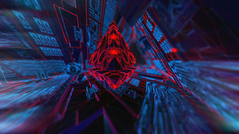Geometric abstract pyramid in the interior of a paceship. Seamless neon retro Animation