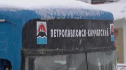 Inscription in Russian on city bus during snowstorm: Petropavlovsk-Kamchatsky 영상물