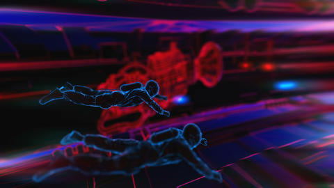 Astronauts in the interior of a paceship. Seamless neon retro futuristic Animation