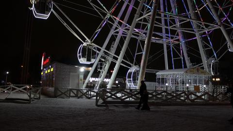 Lighting Ferris wheel in the night Archivo