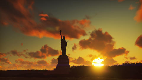Statue of Liberty at sunrise, with the new York skyline and sunrise, sky with Animation