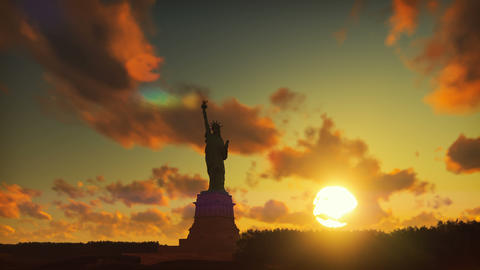 Statue of Liberty at sunrise, with the new York skyline…, Stock Animation