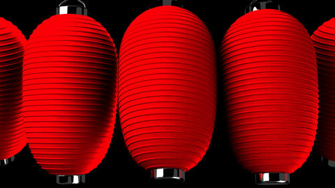 Red paper lantern on black background Animation