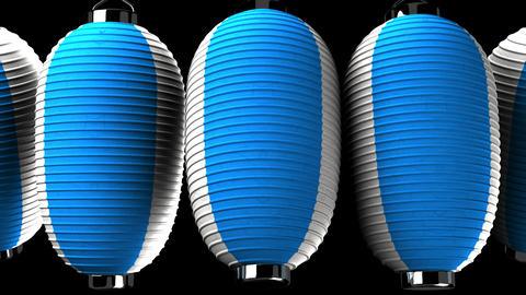Blue and white paper lanterns on black background CG動画