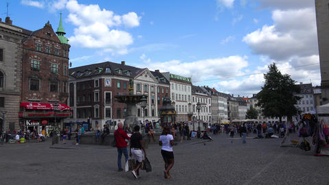 Gammeltorv Square. Old Square. Copenhagen. Denmark. 4K Stock Video Footage