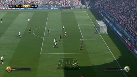soccer player shoots goal and celebrates in virtual game Live Action