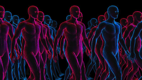Geometric laser human figures walking. Seamless neon retro futuristic animation Animation