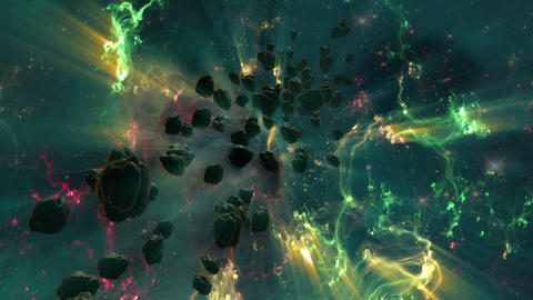Nebula And Asteroid Field In Deep Space Animation