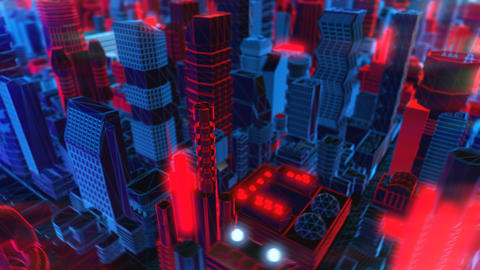 Geometric laser cityscape. Seamless neon retro futuristic animation with shallow Animation