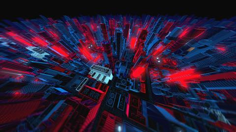 Geometric laser cityscape. Seamless neon retro futuristic animation with shallow Videos animados