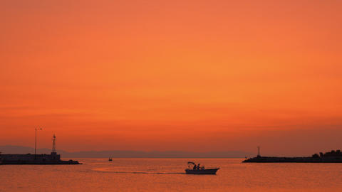 Evening marine scene with sailing motor boats Stock Video Footage