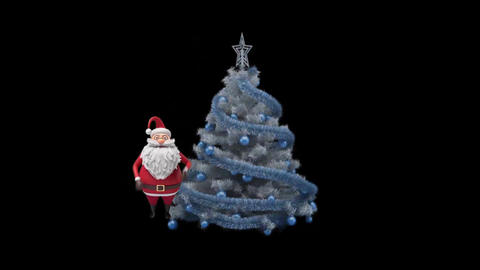 Video footage of Merry Christmas and Happy New Year with animated Santa Animation