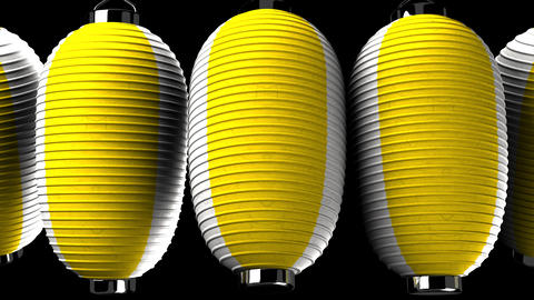 Yellow and white paper lanterns on black background Animation