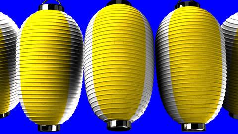Yellow and white paper lanterns on blue chroma key CG動画