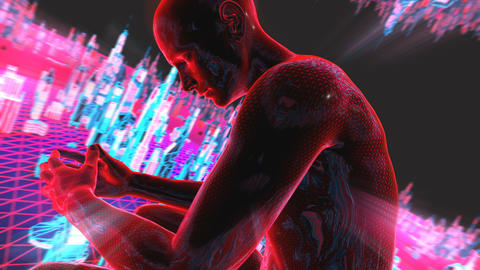 Geometric laser cityscape with human figures. Seamless neon retro futuristic Animation