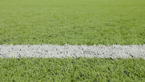 White line of the soccer field. Close-up horizontal slider shot 영상물