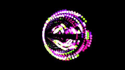 Circles gather in symbol smile beam. After it crumbles in a line and moves to Animation
