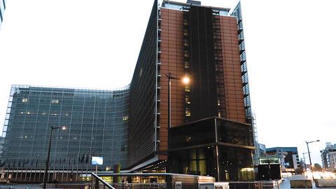 Brussels, Belgium European Parliament (Le Berlaymont) evening side view Live Action