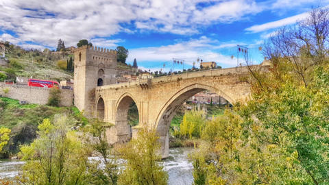 View of Bridge of San Martin on December 1, 2018 in Toledo, Spain cinemagraph Footage