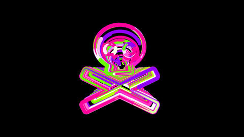 Circles gather in symbol skull crossbones. After it crumbles in a line and moves Animation