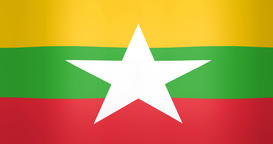Waving Flag of Myanmar Looping Background Live Action