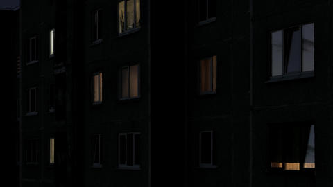 Time Lapse of Windows of Multistory Apartment House After Sunset Footage