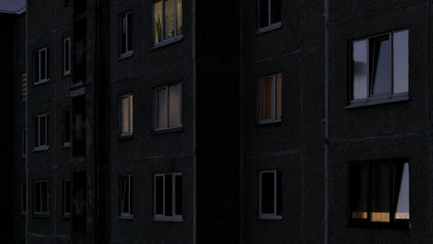 Time Lapse of Windows Multistory Apartment Building During Sunrise Footage