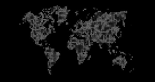 Loopable: Black and White World Map Made of Shiny Dots Footage