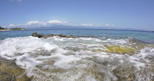 Sunny day on the rocky shore of the Ionian Sea 69 Footage