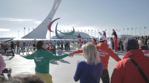 Entertainment of guests of the World Winter Olympic Games... Stock Video Footage