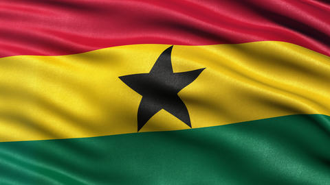 4K Ghana flag seamless loop Animation
