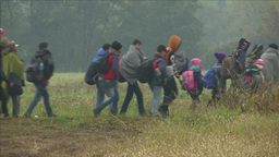REFUGES WALKING IN FIELDS EU MIGRANT CRISIS Footage