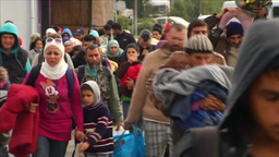 DRAMATIC CROWD OF MIGRANTS WALKING EU REFUGEES Footage