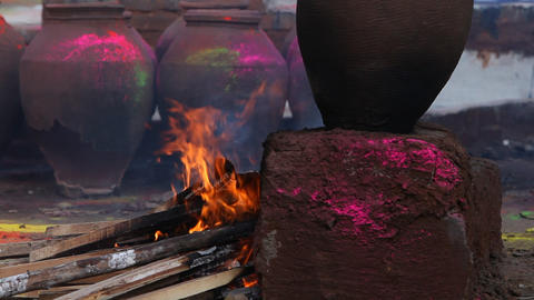 Fire at Rural Kitchen Footage