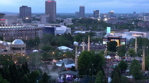 Aerial view over Sweetwater music festival at Olympic Park Atlanta - ATLANTA / G Live Action