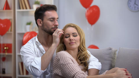 Man caressing lady, trust based relations in couple, enjoying time together Footage
