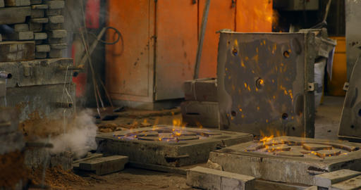 Molds being heated in workshop 4k Live Action