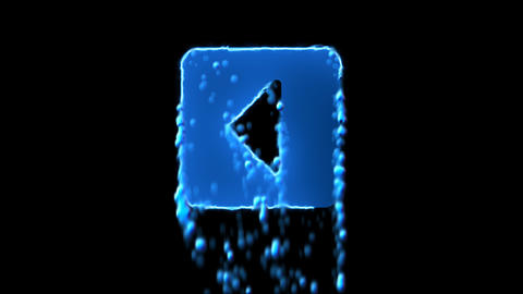 Liquid symbol caret square left appears with water droplets. Then dissolves with Animation