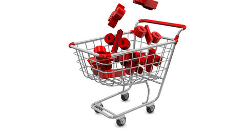 Great holiday sale at a discount. Animated shopping carts with percentage GIF