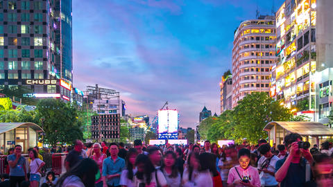 Nguyen Hue Walking Street New Year Countdown Time Lapse Live Action