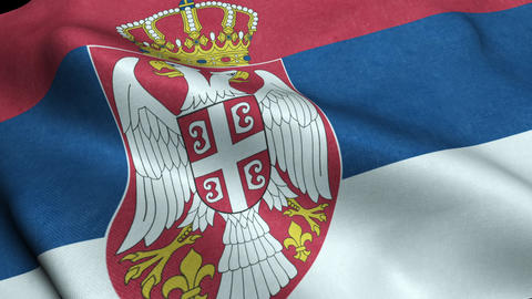 Serbia Flag Seamless Looping Waving Animation Animation