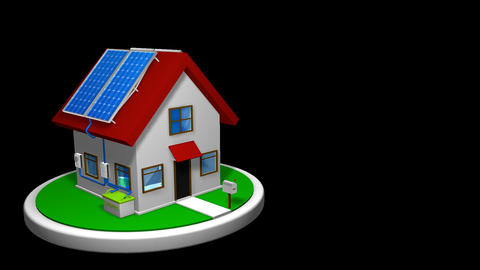 3D animation of a small house with a solar energy system installed Animation