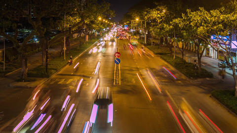 Time lapse of traffic in Ho Chi Minh city at night GIF