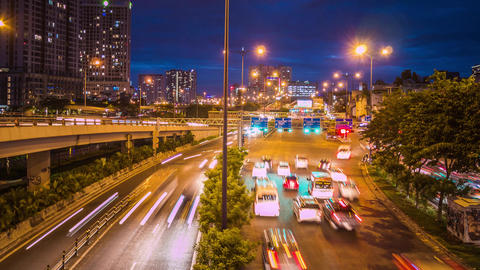 Vo Van Kiet Highway Time Lapse, Ho Chi Minh City, Vietnam GIF