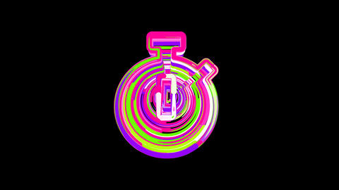 Circles gather in symbol stopwatch. After it crumbles in a line and moves to the Animation