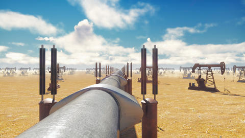 Pump Jack and pipeline for oil on a Sunny day. Pipeline transportation natural Animation
