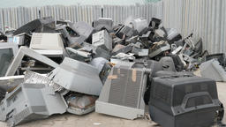 Electronic junk. Electronic waste collection point. Recycling Live Action