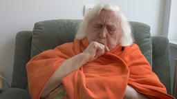 Old ill woman is coughing Footage